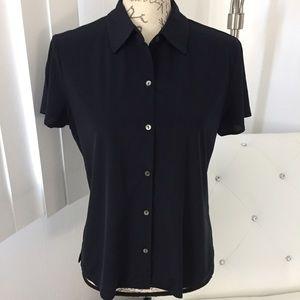 J. Crew Navy Blue ButtonDown Short Sleeve Top